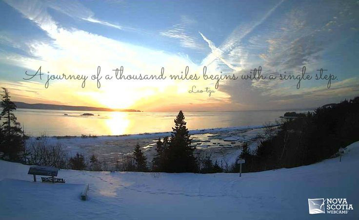 """A journey of a thousand miles begins with a single step."" - Lao-tzu  http://www.novascotiawebcams.com/en/webcams/fundy-ocean-research-center-for-energy/  #Quote #NovaScotia #FundyForce #Winter #Journey #Throwback #Sunset"