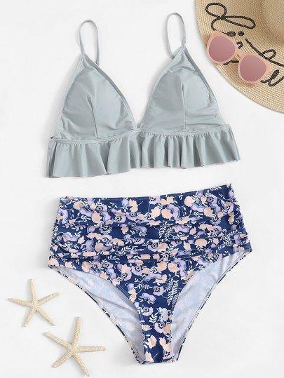 Plus Ruffle Seam Top With Floral High Waist Bikini