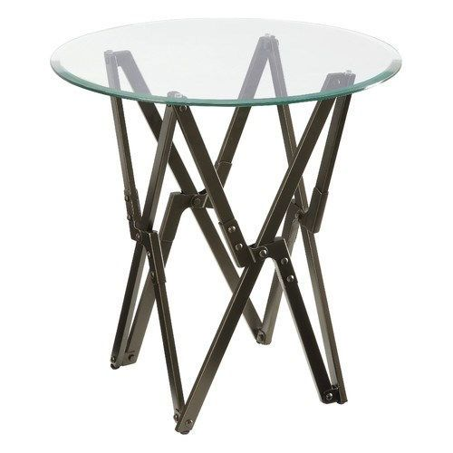 Off Bronze Round Glass Top Accent Table By Donny Osmond Home With Antique Base And Bevel