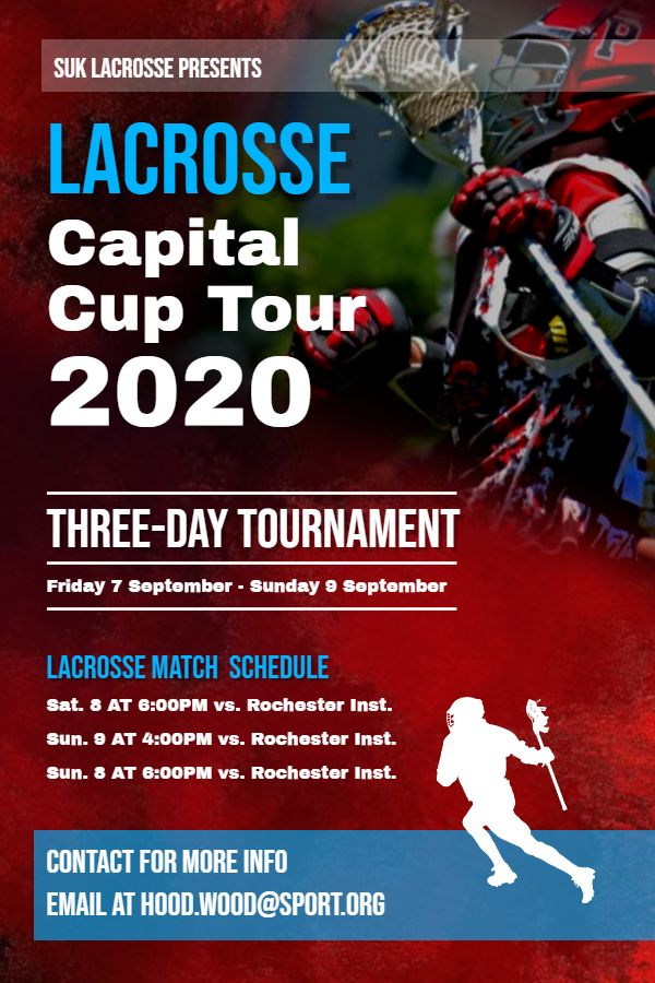 Red Lacrosse Event Poster Flyer Schedule Custom Template Poster Template Event Poster Social Media Graphics