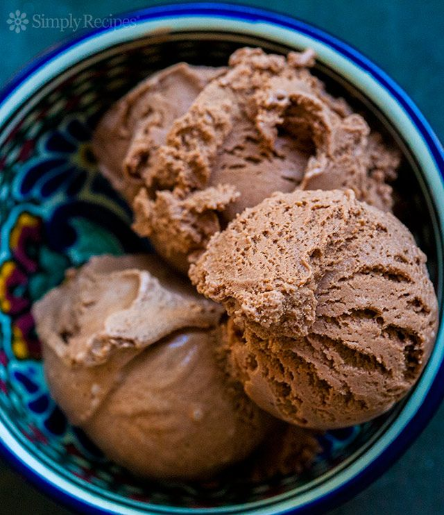 Mexican Chocolate Ice Cream ~ Homemade chocolate ice cream flavored with cinnamon and a dash of spice. ~ SimplyRecipes.com