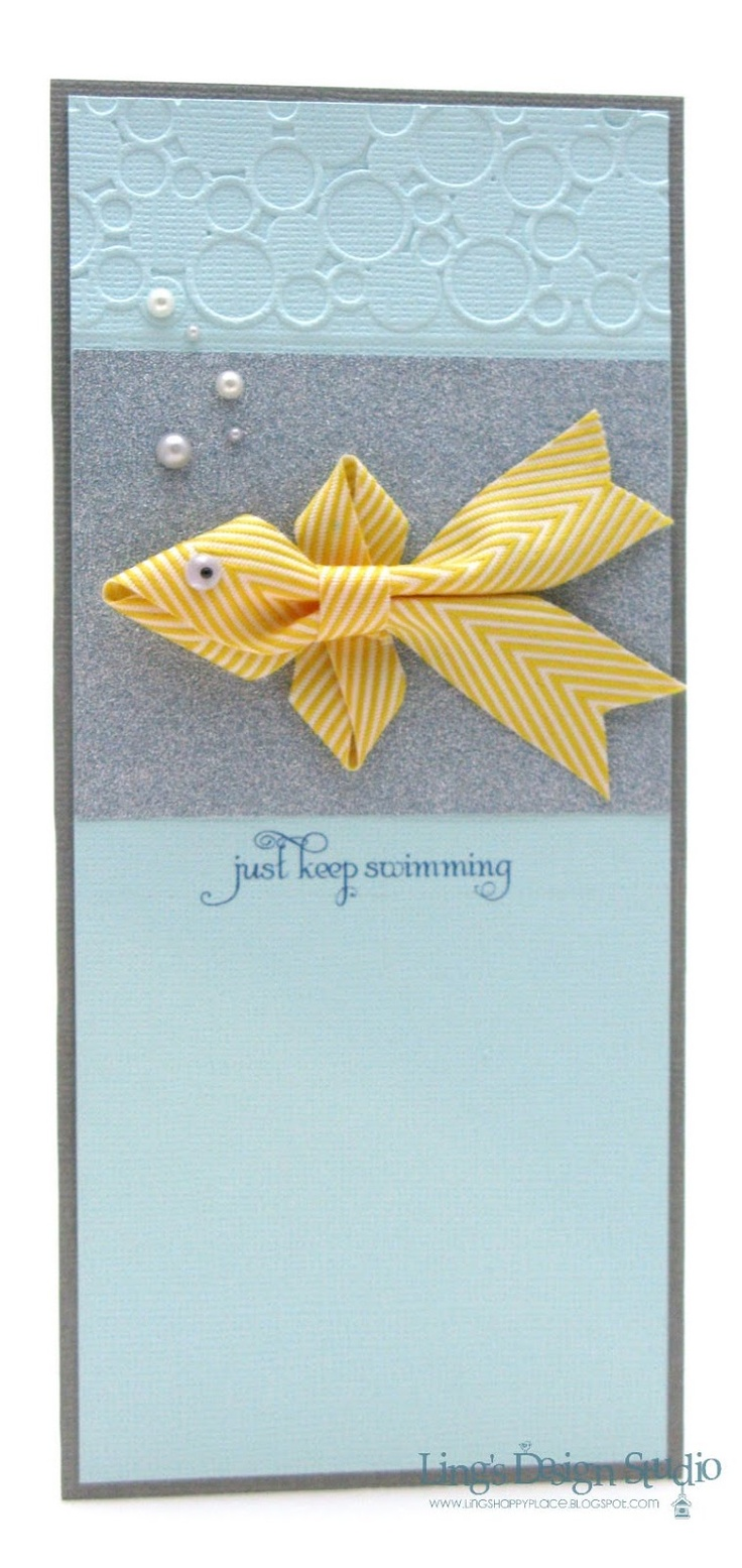 handmade card with #10 dimensions ... clever ribbon fish ...  like how pearl bubbles move on up to embossed circles ...