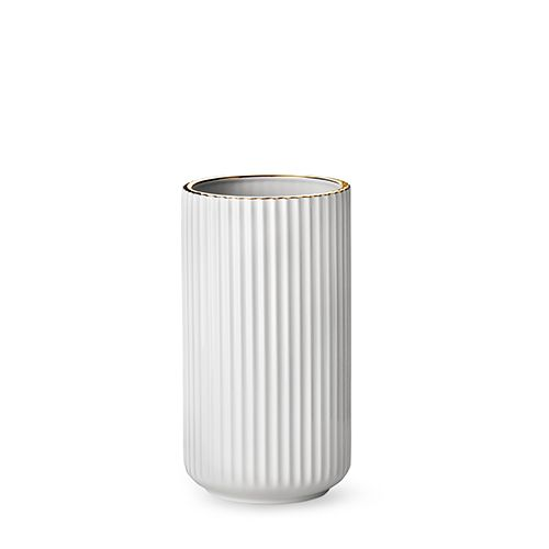 Our deluxe edition 25 cm original Lyngby vase in white porcelain with gold line