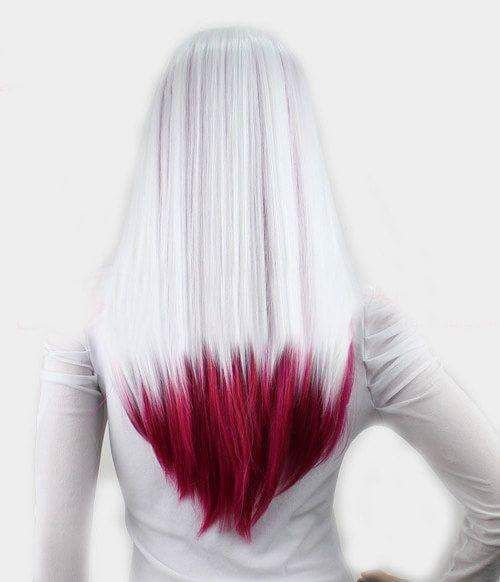 Silver and blood red hair.
