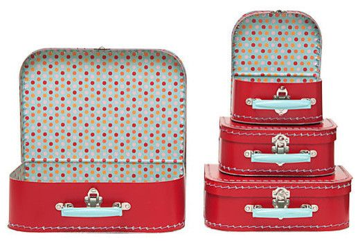Multi Dots Suitcases - contemporary - storage boxes - Paper Source