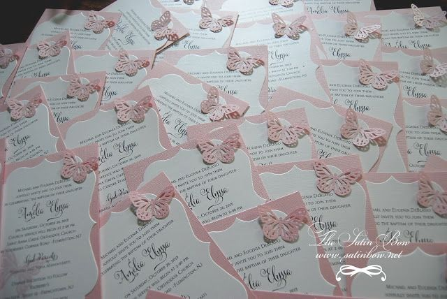 Butterfly invitaitons waiting to be delivered (Pink Backing with metallic white diecut shape and diecut butterfly) - by The Satin Bow