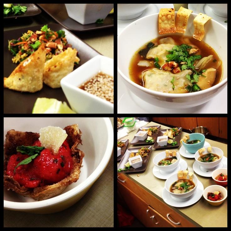 asian slaw, cream cheese / sausage wonton, wonton soup with bok choy ...