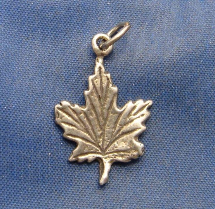 Vintage Sterling Silver Maple Leaf Charm marked 925