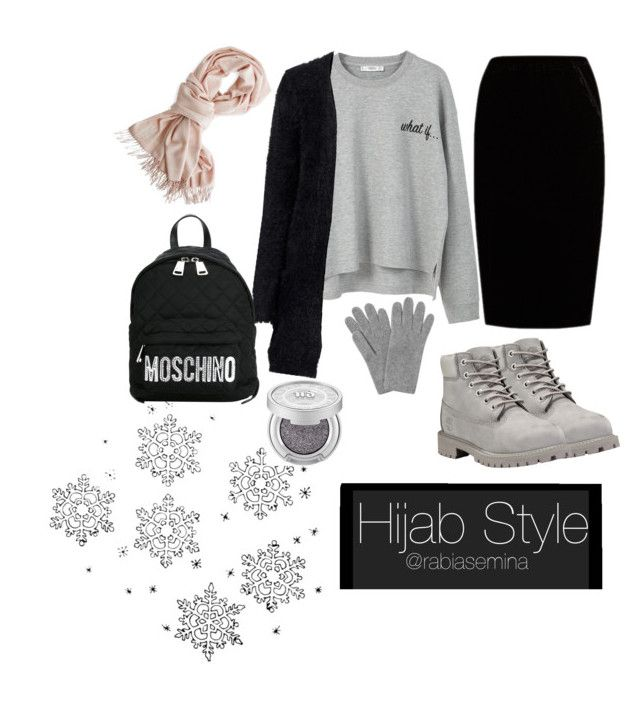 """#hijab"" by rabiasemx on Polyvore featuring Jupe By Jackie, Timberland, MANGO, Moschino, L.K.Bennett and Mark & Graham"
