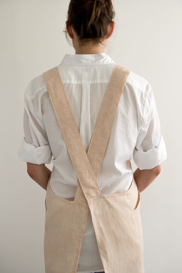 Free pattern from Purl Soho. Crossback Apron shown in Watercolor Linen.