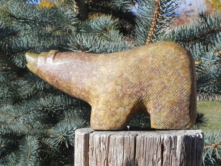 This bear is made from Escalante, Utah Alabaster.  Bear fat is rubbed on the bear to keep the alabaster sealed and bring out the color.  Wildcrafted and Handmade  by David Holladay