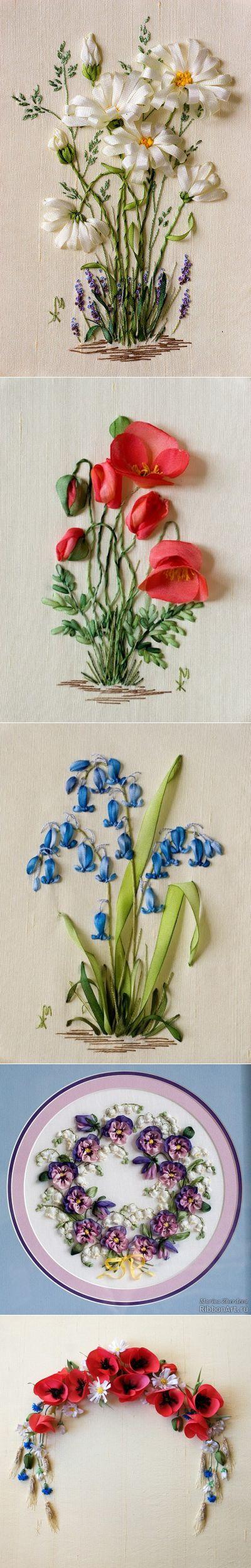 Весенние миниатюры и цветочные эльфы, вышитые лентами — Рукоделие