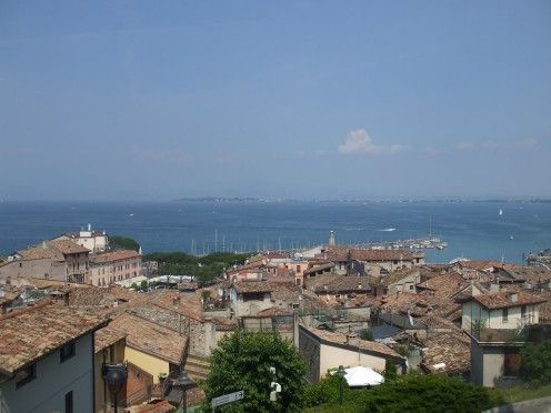Desenzano on Lake Garda. View over the rooftops to the bay