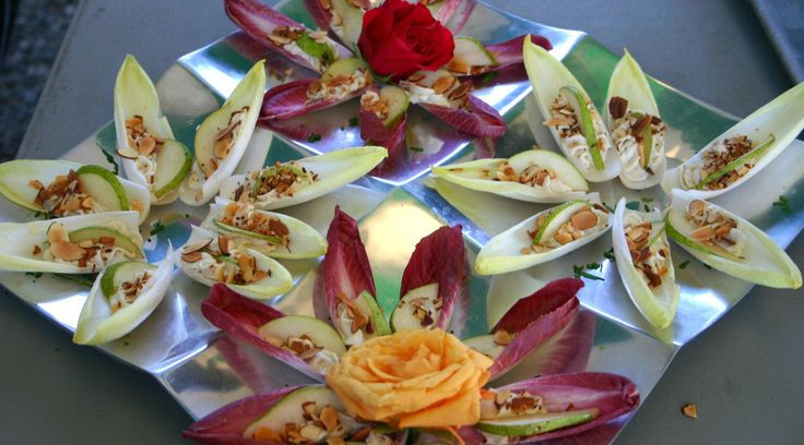 Belgian Endive Spears with Gorgonzola Mousse, Pears and a sprinkle of Toasted Almonds featured on PureJoyCatering.com
