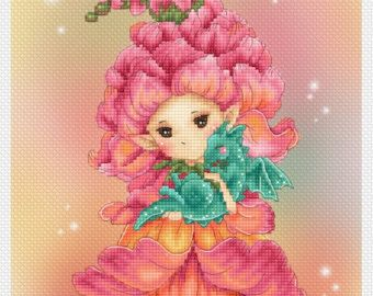 Cross stitch Chart Pattern Flower Sprites by LenaLawsonNeedleArts