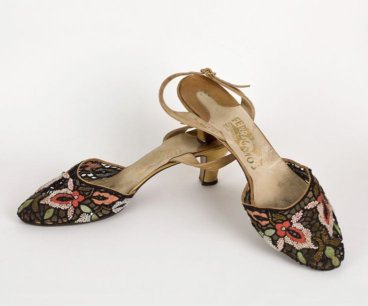 Ferragamo beaded/embroidered shoes, c.1950