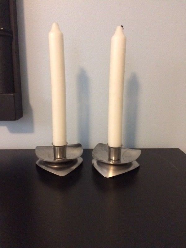 Vintage Avon Products, Inc. Stainless Danish Mid Century Style Candle Holders Se