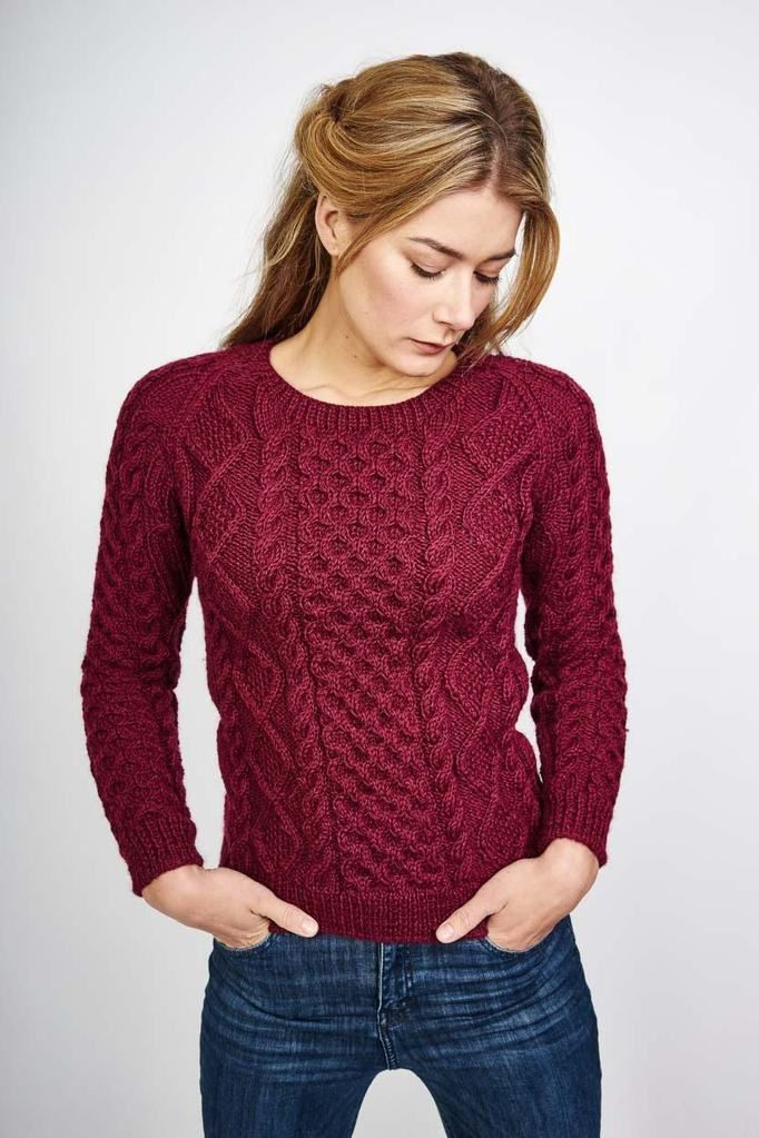 6071a57d6c Roxie Plum Coloured Pure Wool Aran Jumper