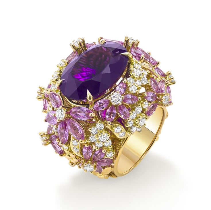 Ring with pink sapphires, purple amethyst & diamonds from Ganjam's new 'Le Jardin' collection.