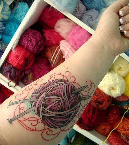 yarn ball tattoo