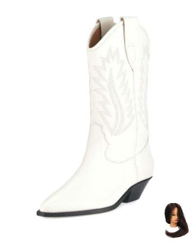 ISABEL MARANT DALLIN LEDER WESTERNSTIEFEL, WEISS. #isabelmarant #shoes #boots