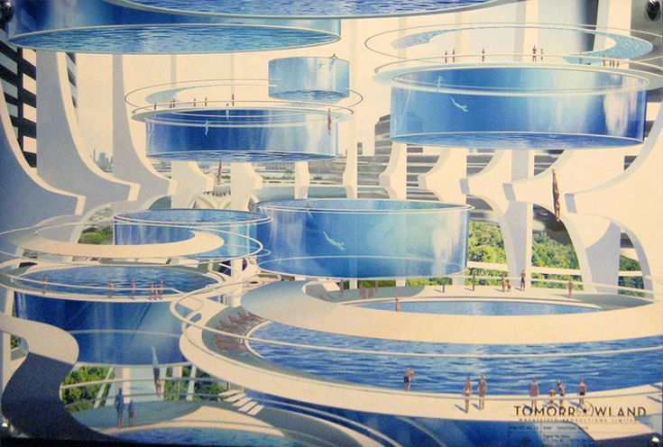 Photo of official pre-production concept art of the swimming pools sequence in Tomorrowland. Original by Jonathan Bach, one of the Tomorrowland concept illustrators. http://www.jbachdesign.blogspot.co.uk/