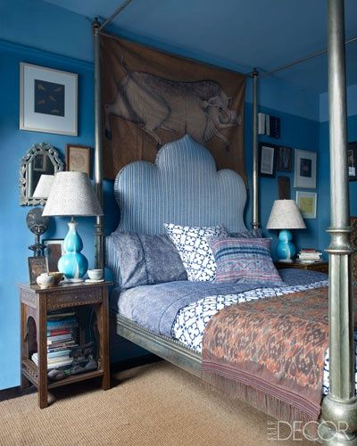 Mrs. Blandings: Back and Forth. Blues, ticking, paisley, ikat - glorious but balanced mix of shades & patterns.  Post also has some nice links to John Robshaw.