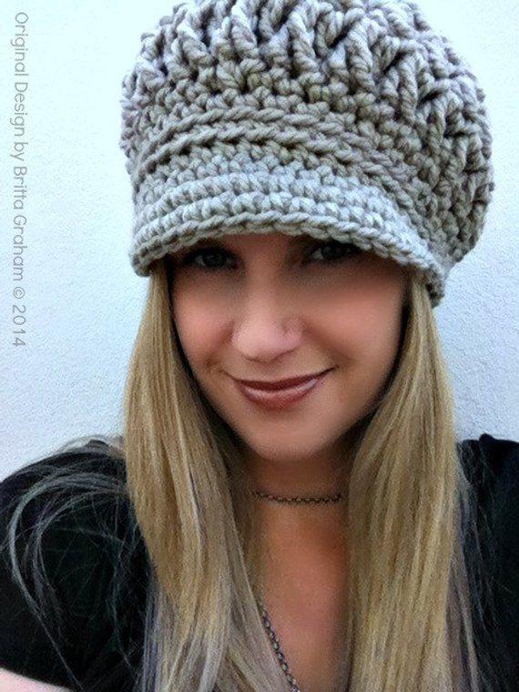 3b6cfa6132b Newsboy Crochet Hat Pattern for Super Bulky yarn - The Chunksta ...