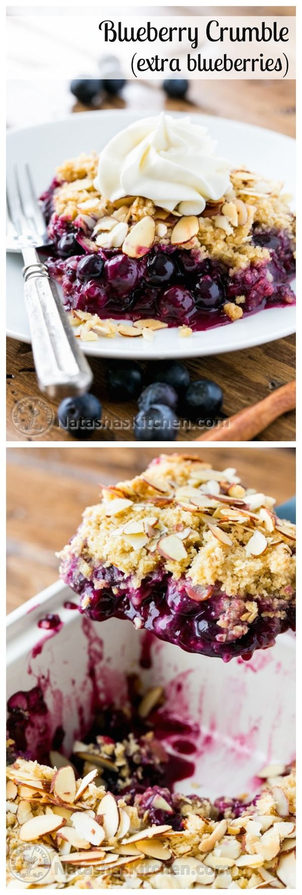 This blueberry crumble is a must-try recipe! Easy to make and absolutely delicious with layers of plump blueberries from @NatashasKitchen #giveaway #sponsored by #lecreuset