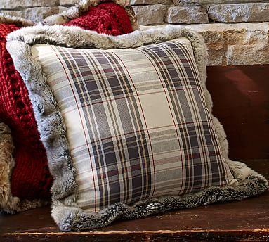 Jasper Plaid Pillow Cover With Fur Trim Potterybarn