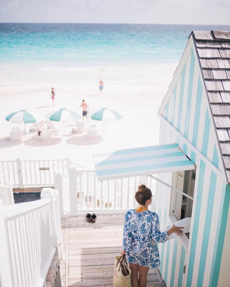 """26k Likes, 267 Comments - Julia Engel (Gal Meets Glam) (@juliahengel) on Instagram: """"When the decor matches the sea #harbourisland #bahamas #thedunmore #gmgtravels #stripes #beachbound…"""""""