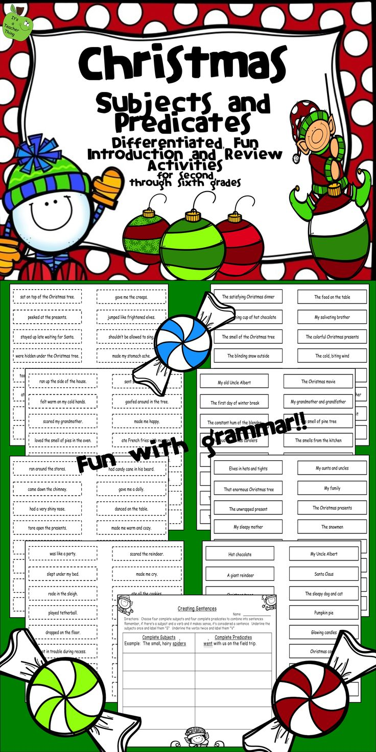 "Who said grammar can't be fun? Use the Differentiated Subject and Predicate Activities from It's a Teacher Thing to liven up your grammar lessons and student learning. You'll receive the following: 64-complete subject slips with solid borders (with an option of two levels-""H"" and ""L""), 64 -complete predicate slips with dotted borders (with an option of two levels-""H"" and ""L""), a finale activity, and ideas for using the slips."