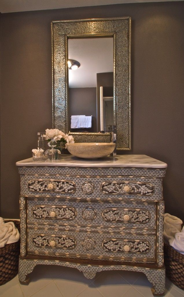 Mother Of Pearl Syrian Vanity For This Beautiful Bathroom