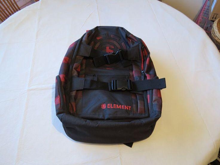 Element Book Bag Back Pack Skateboarding Red Black Surf Skate Laptop Mohave NEW Bookbag
