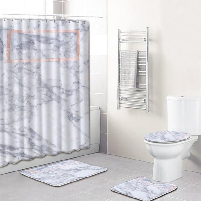 4 Pc Zeegle Marble Pattern Bathroom Mat Non Slip Pedestal Rug Lid Toilet Cover Bath Mat With Shower Curtain Set Foot Mats With Images Pedestal Rug Shower Curtain Sets Toilet Covers
