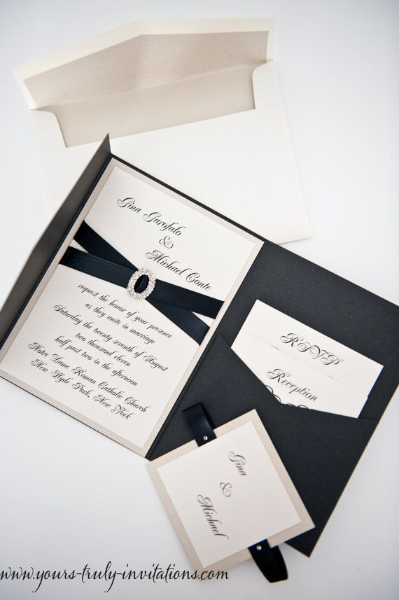 wedding stationery folders%0A Deluxe Crystal Buckle Pocket folder Wedding Invitation Suite shown in black  and champagne or in your colors