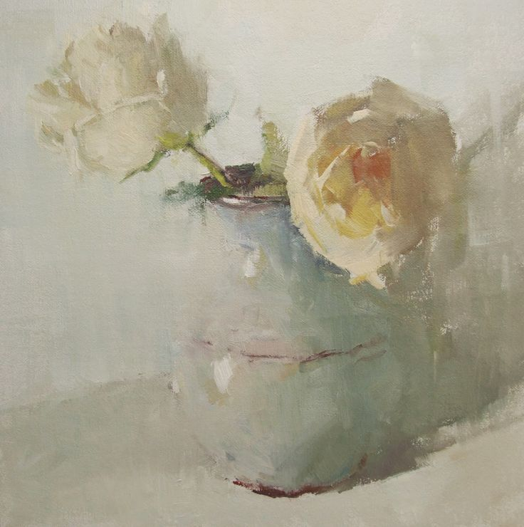 """Impressionistic oil painting of creamy white roses, titled """"Surrender"""" by artist Gina Brown"""