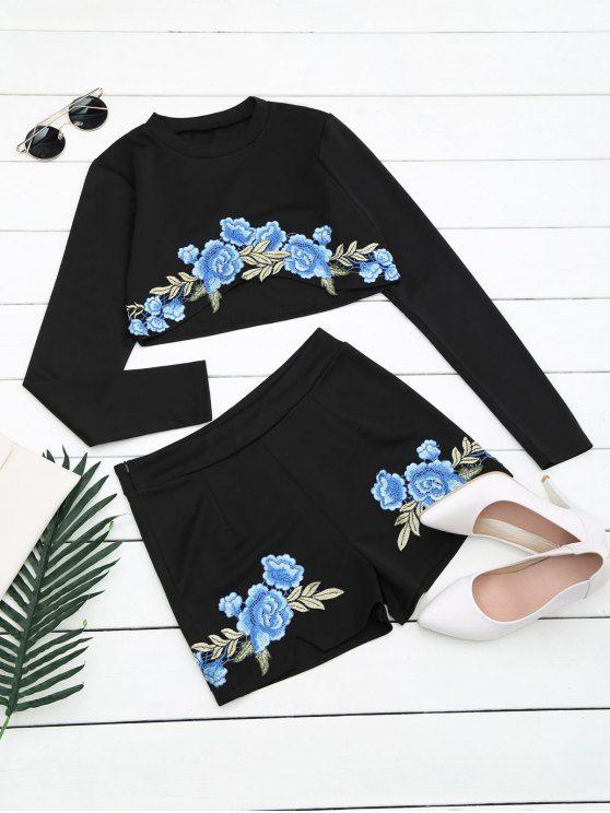 Pantalones y pantalones cortos con estampado floral - Negro XL