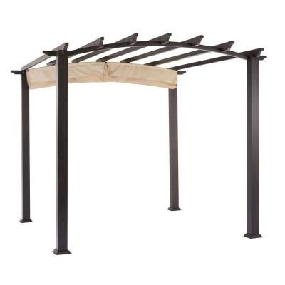 hampton bay 9 ft x 9 ft steel and aluminum arched pergola with retractable canopy home the. Black Bedroom Furniture Sets. Home Design Ideas