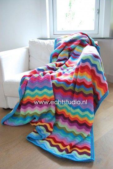 Gratis haakpatroon ripple deken