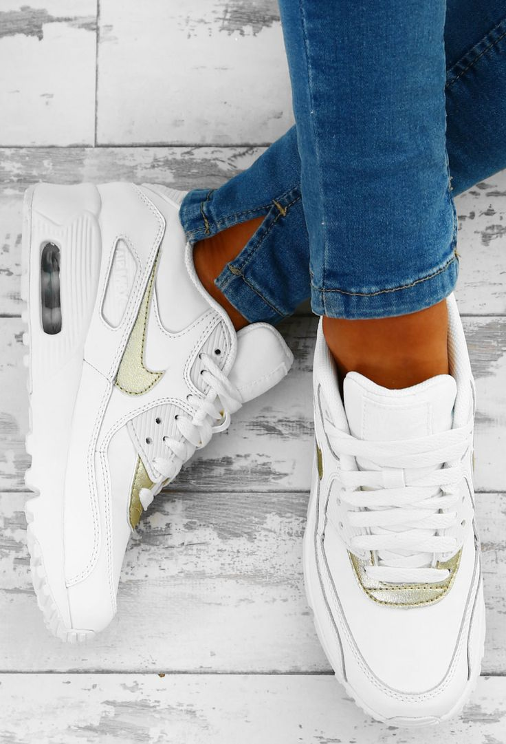 Nike Air Max 90 White and Gold Trainers | Pink Boutique