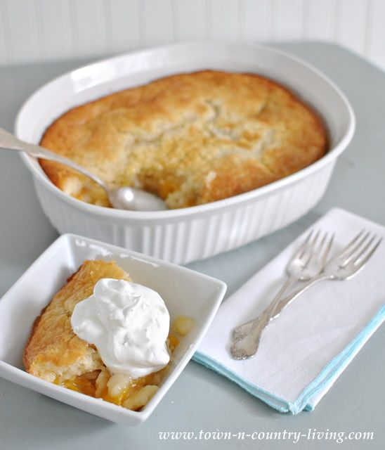 Simple Peach Cobbler Recipe - Town and Country Living - yes, this one suits my mood just right tonight! mm mmm!
