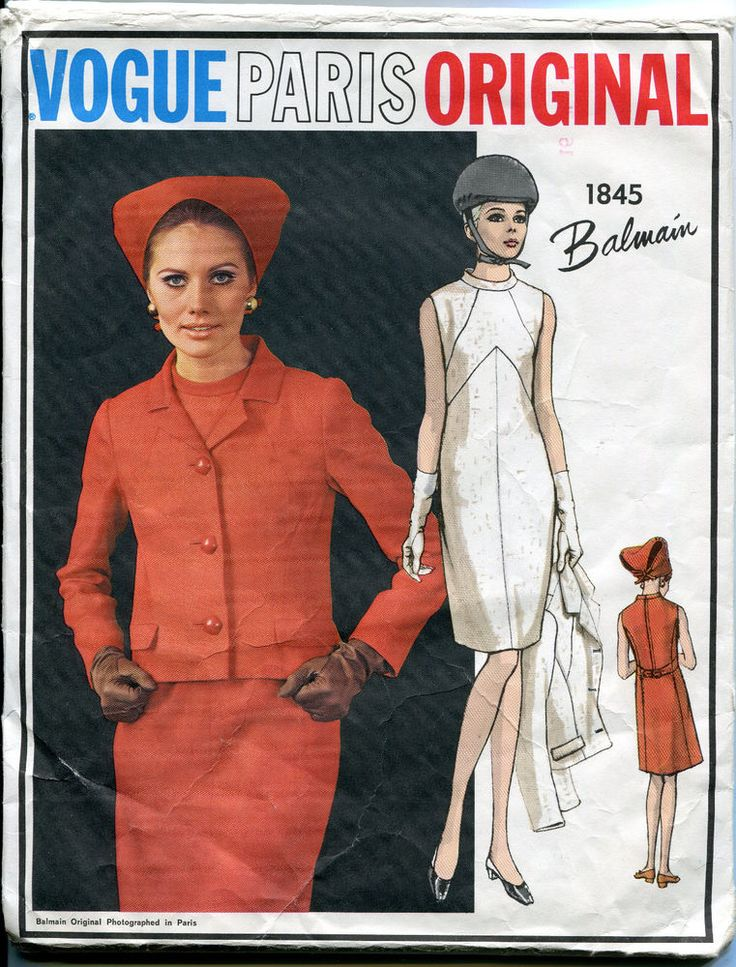 Vogue Paris Original 1845 Dress Pattern Jacket Balmain Designer 1960s Size 16    eBay