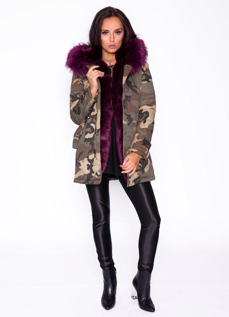 Premium Camouflage-Parka mit Faux-Pelz Kapuze in Lila online bestellen