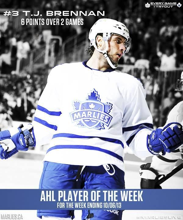 Congrats to T.J. Brennan who was named The CCM/AHL Player of the Week for the Week ending Oct. 6, 2013!