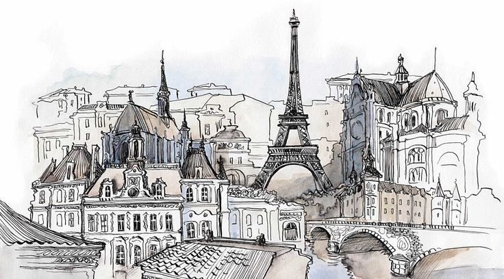 эйфелева башня рисунок акварелью - Поиск в Google