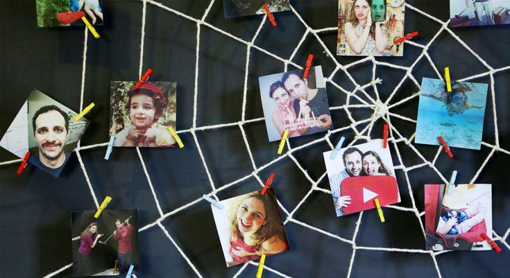 Aprenda a fazer um mural com formato de teia de aranha, para pendurar as suas melhores recordações e recados.