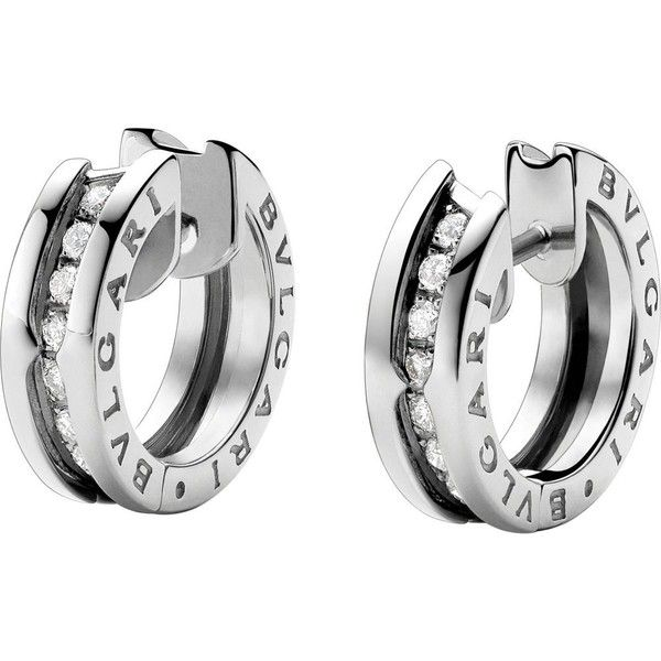 BVLGARI B.zero1 18kt white-gold and diamond earrings ($3,480) ❤ liked on Polyvore featuring jewelry, earrings, diamond jewelry, white gold diamond earrings, earring jewelry, diamond earring jewelry and pave diamond jewelry