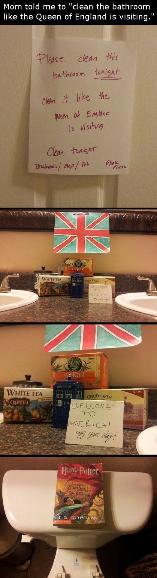 Clean the bathroom like the Queen is visiting.