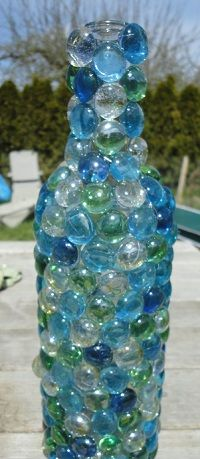 Pretty! Glowing Glass Bead Wine Bottle
